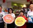 (L-R) Shell Lubricants general manager Leslie Ng, Shell Helix brand manager Joanna Lean, Shell store manager Elsie Jacob Nathaniel and Shell Lubricants marketing manager (SEA) Alex Lim during the start of its special cash discount promotion from now till the end of July.