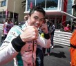 Jazeman flashing the thumbs up sign after winning the Monaco Grand Prix in the Formula Renault 3.5 race in May.