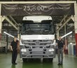 Mercedes-Benz Malaysia vice president for commercial vehicles Albert Yee and Grombach with the Actros, the 25,000th commercial vehicle to come off the Pekan line.