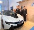 Harris, Sime Darby Motors managing director (Malaysia, Taiwan and Thailand) Dennis Ho and Gan posing with the i8.