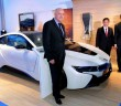 Harris (front), Sime Darby Motors managing director (Malaysia, Taiwan and Thailand) Dennis Ho and Gan posing with the i8.