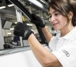 An Audi factory worker using the medical gloves in a pilot project.