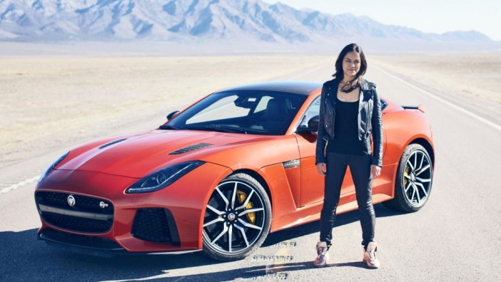 Michelle Rodriguez takes Jaguar F-TYPE SVR to 323kph