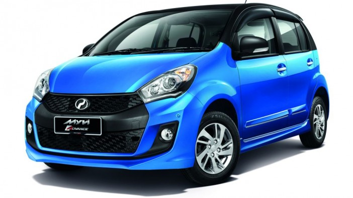 The two-colour Myvi.
